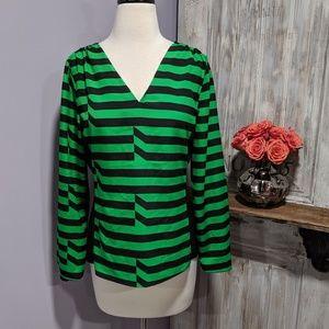 Worthington green/black jagged striped blouse